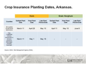 corn insurnace planting dates